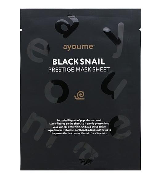 Маска тканевая с муцином черной улитки AYOUME BLACK SNAIL PRESTIGE MASK SHEET 20мл: фото